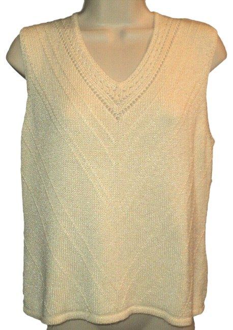 Item - Cream Stretchy Knit Sleeveless Poinelle Accents V Neckline Tank Top/Cami Size 10 (M)