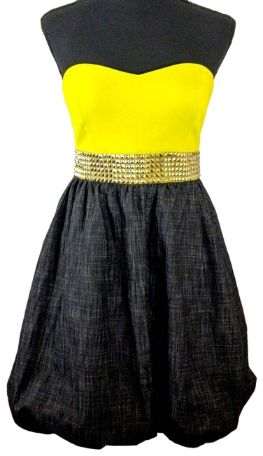 Item - Yellow 90s Vintage Semi Formal Neon Bubble Short Night Out Dress Size 8 (M)