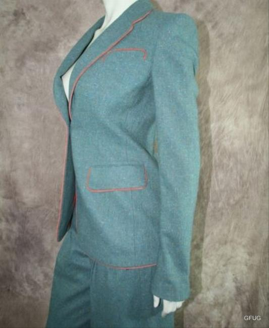 Richard Tyler Richard Tyler Couture 46 Green Wool Blend Jacket Blazer Pant Dress Suit Sample