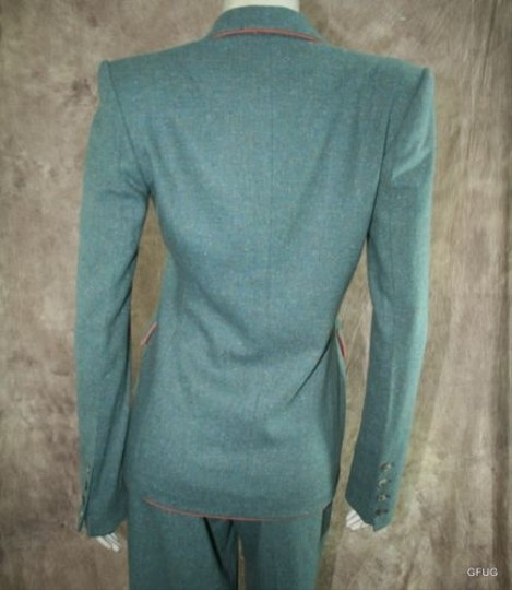 Richard Tyler Couture 46 Green Wool Blend Jacket Blazer Pant Dress Suit Sample 50%OFF