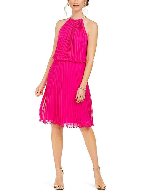 Item - Pink with Tag Pleated Halter Fit & Flare Short Cocktail Dress Size 6 (S)