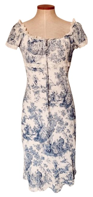 Item - White Blue & Graphic Puff Sleeve Midi Mid-length Cocktail Dress Size 6 (S)