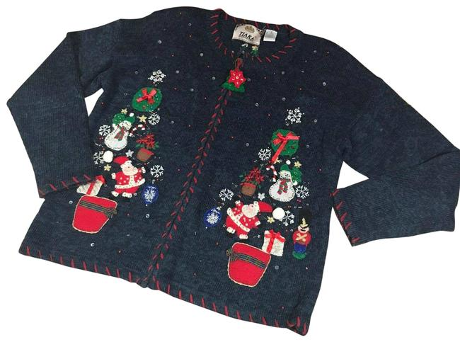 Item - Multicolor Blue Red Ugly Christmas Sweater Santa Gifts Wreaths Cardigan Size M
