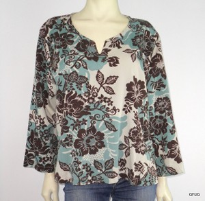 Hot Cotton Blue Brown Floral Top Multi-Color