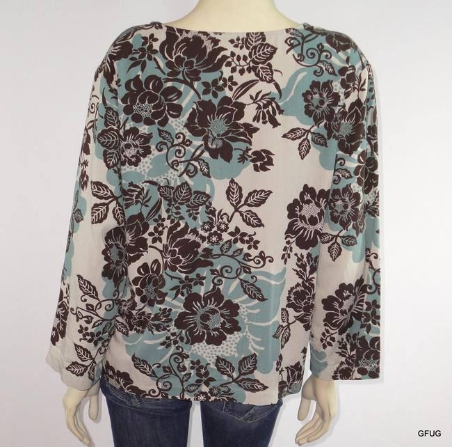 Hot Cotton Blue Brown Floral Print Boxy 12 Sleeves Top Multi-Color