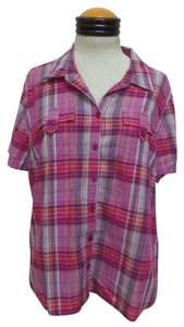 Christopher & Banks Button Down Shirt Multi Color Plaid