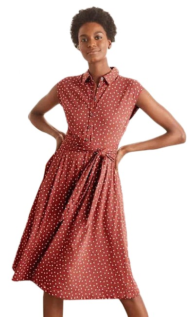 Item - Brown Jersey Althea In Red Oak and Ivory Triple Spot Mid-length Short Casual Dress Size 2 (XS)
