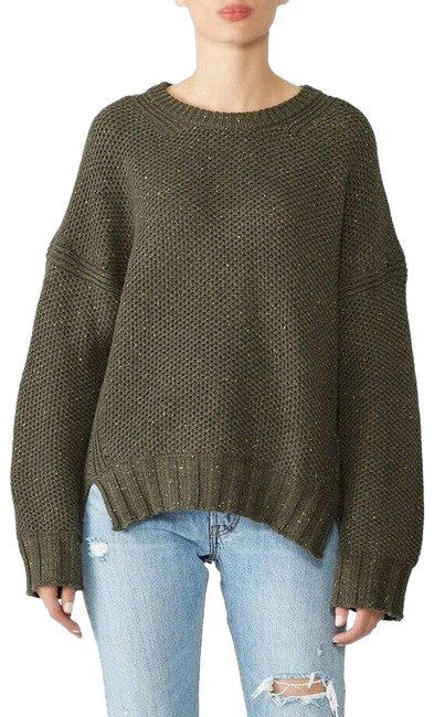 Item - Dillon Dropped Sleeve Oversized Wool Blend Green Sweater
