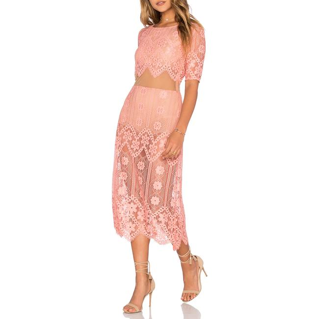Item - Pink Lace Illusion Mid-length Cocktail Dress Size 2 (XS)
