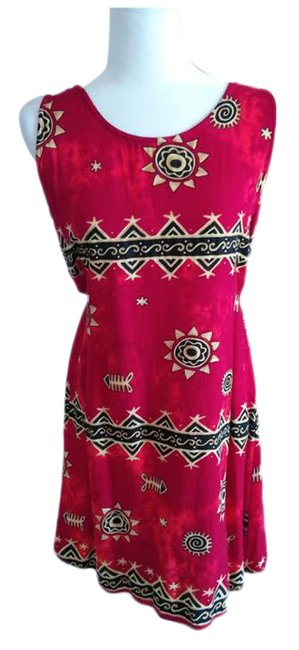 Item - Multi Color Kaaku Vtg 90's Shift Tribal Print Red Short Casual Dress Size OS (one size)