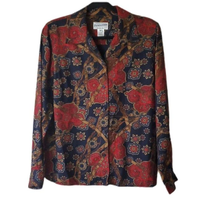 Item - Red Navy Multi Vintage Button-down Top Size 10 (M)