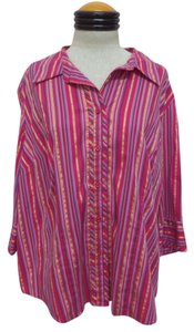 Lane Bryant Button Down Shirt Multi Color Striped