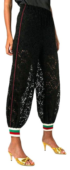 Item - Black High Waist Floral Lace Loose-fit Track Jogger Small Activewear Bottoms Size 4 (S, 27)