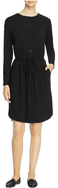 Item - Black Jersey Drawstring Button Front Mid-length Short Casual Dress Size 10 (M)
