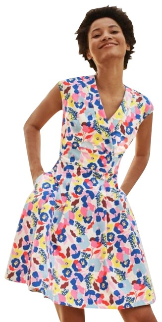 Item - Pink New Clemmie Floral Fit & Flare Large Short Casual Dress Size 12 (L)
