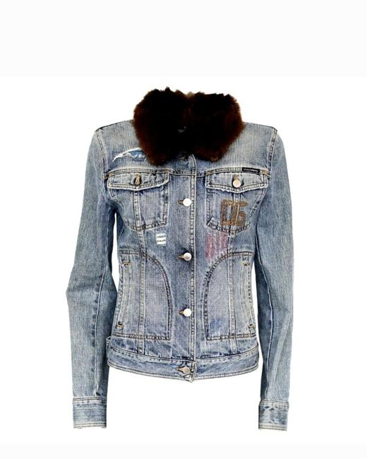 Item - Blue And Mink Distressed Jacket Size 2 (XS)