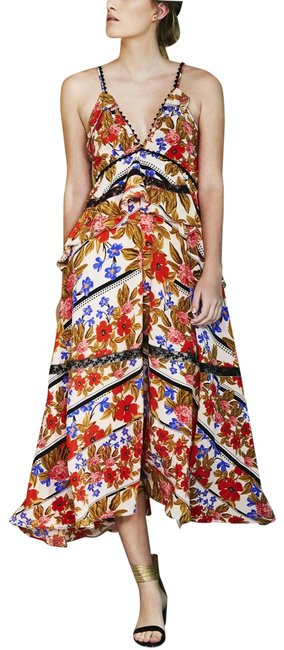 Item - Red Sasha Floral Long Casual Maxi Dress Size 6 (S)