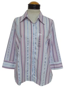 Izod Nwt Button Down Shirt White, Pink & Blue Striped