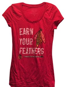 Majestic Threads T Shirt Red Chicago Blackhawks