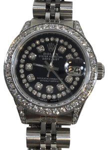 Rolex WOMENS ROLEX DATEJUST BLACK STRING DIAMOND STAINLESS STEEL WATCH