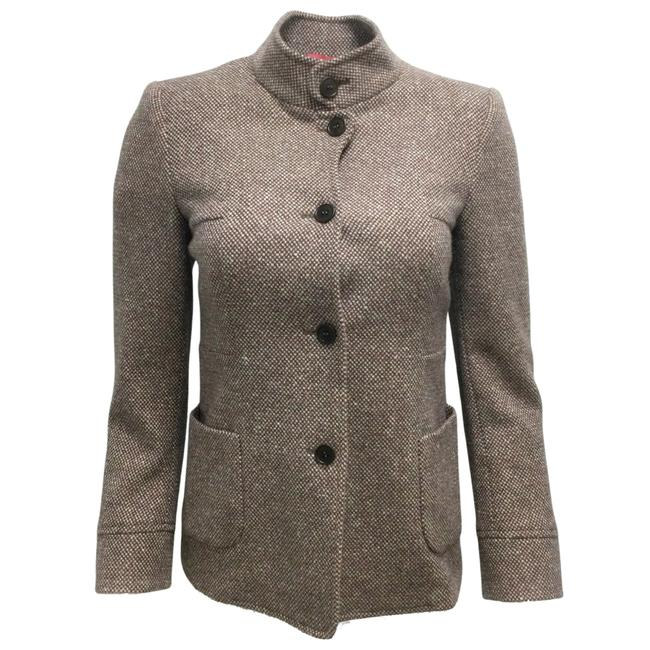 Item - Taupe / Pink Wool and Cashmere Tweed Blazer Size 6 (S)
