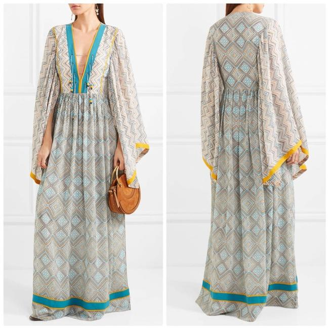 Item - Blue Maghreb Printed Silk-georgette V-neck Maxi New Long Night Out Dress Size 4 (S)
