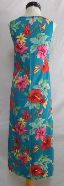 Turquoise Blue with Multi Color Floral Print Maxi Dress by Caribbean Joe