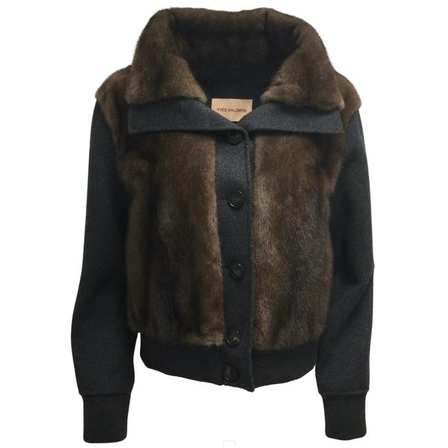 Item - Brown / Charcoal Grey Mink and Wool Coat Size 10 (M)