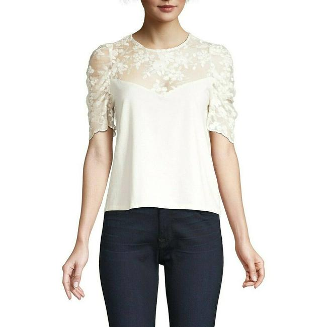 Item - Off White Gabriella Embroidered Puff Sleeve Illusion Tee Blouse Size 8 (M)