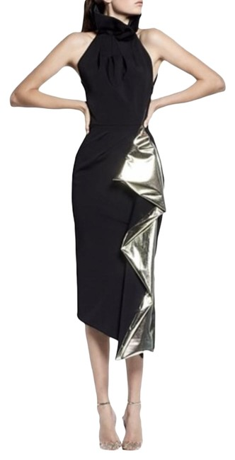Item - Black Solar In and Gold Cocktail Dress Size 10 (M)