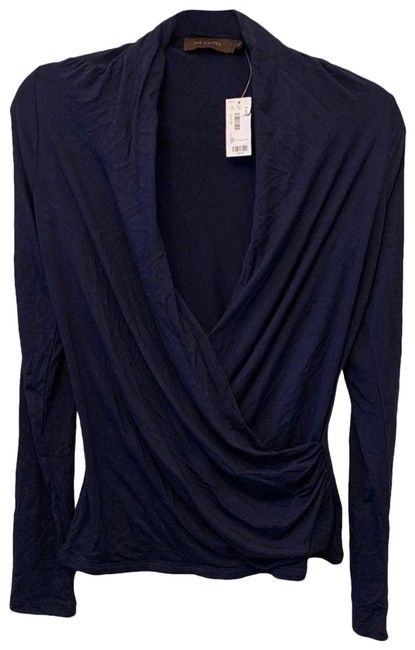 Item - Blue Small Navy Long Sleeve Deep Blouse Size 4 (S)