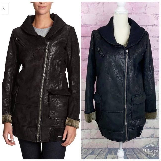 Item - Black Distressed Faux Suede and Zip Up Coat Size 8 (M)