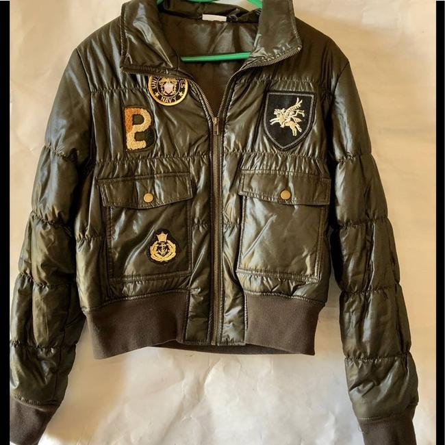 Item - Green Military Style Puffer Jacket with Patched Blazer Size 14 (L)