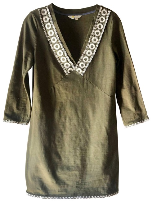 Item - Green Olive Cotton with Circle Trim Short Casual Dress Size 6 (S)