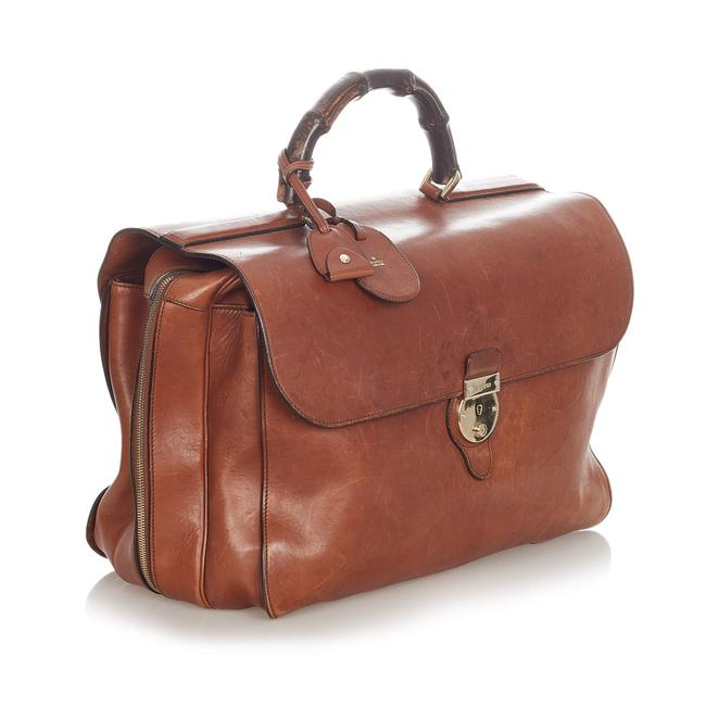 Item - Bamboo Briefcase Brown Leather Messenger Bag