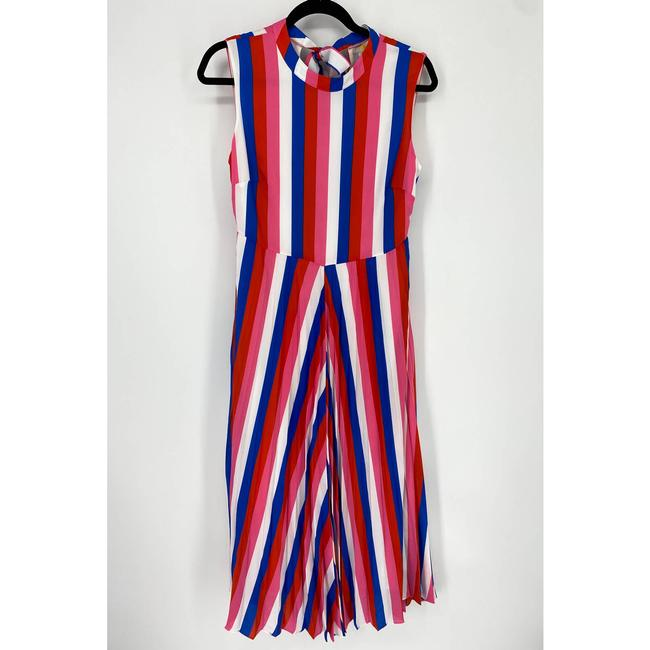Item - Red Jocelyn Pleated Stripes Round Neck Sleeveless Cocktail Dress Size 4 (S)
