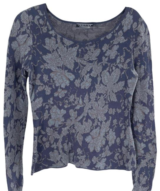 Item - Charcoal Floral Blue Sweater