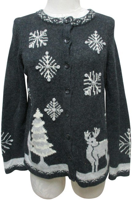Item - Gray White Hand Embroidered Christmas Sweater Small Sm S Cardigan Size 6 (S)