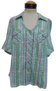 Venezia by Lane Bryant Button Down Shirt Green, Purple, Blue & Brown Plaid