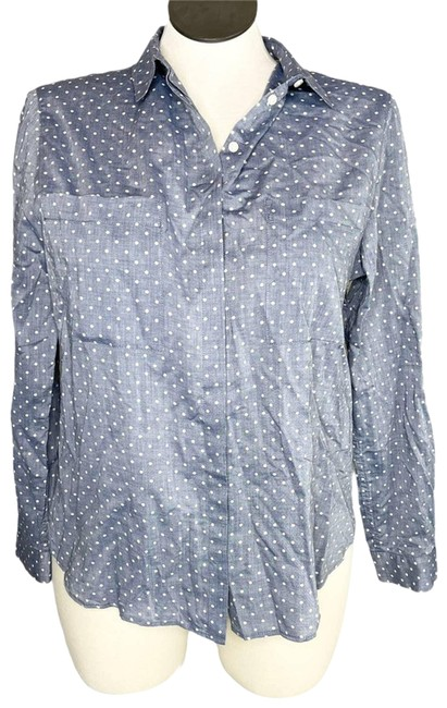 Item - Blue Girl Fit Button Up Polka Dot Blouse Button-down Top Size 10 (M)