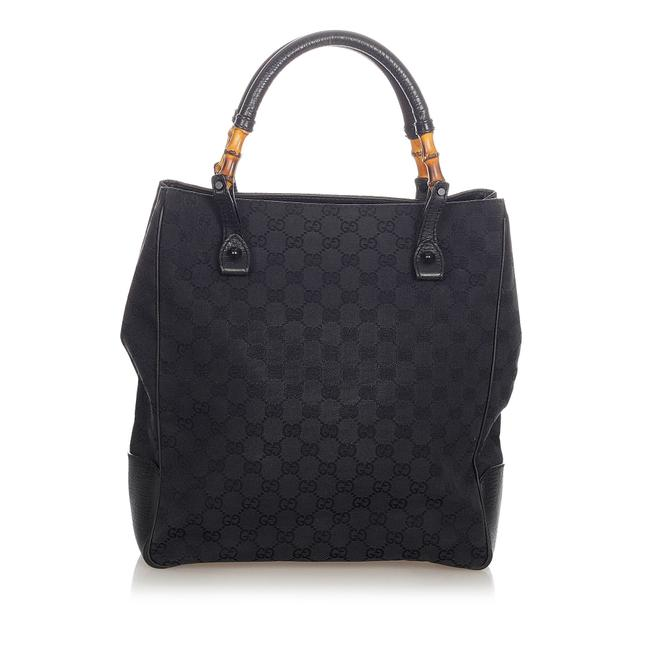 Item - Bag Bamboo Gg Canvas Black Leather Tote