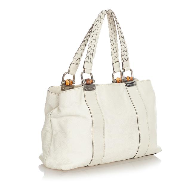 Item - Bag Bamboo Bar White Leather Tote