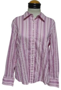 Izod Button Down Shirt Pink, Mauve & Blue Striped