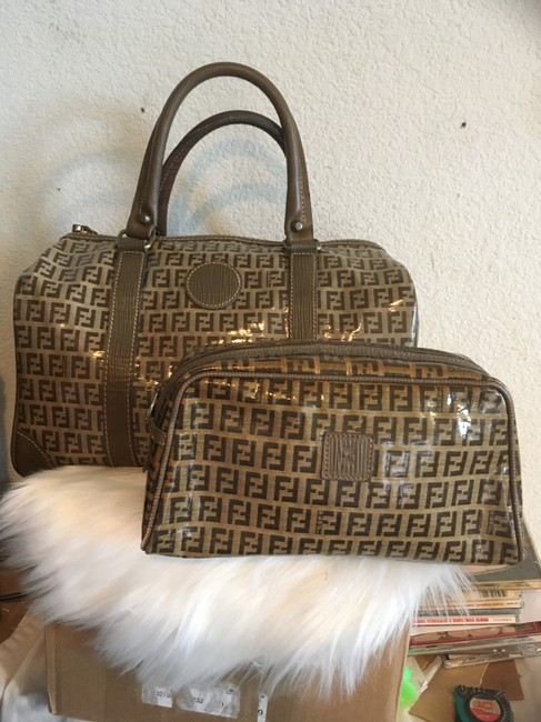 Item - Vintage Zucca with Pouch Brown Patent Leather Weekend/Travel Bag