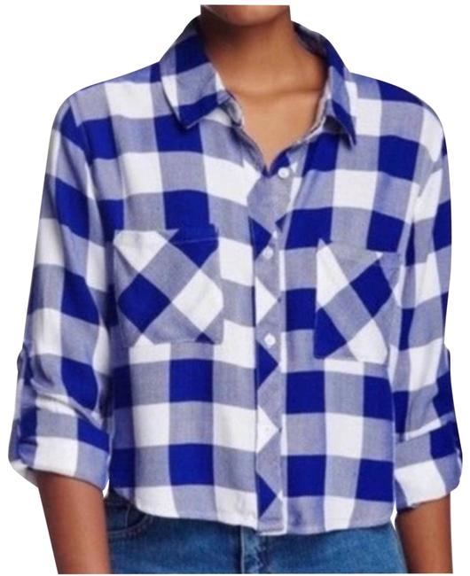 Item - Blue Cropped Buffalo Check Button Front Medium Button-down Top Size 8 (M)