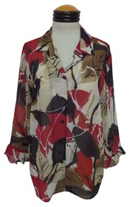 Alfred Dunner Top Multi Color Leaf Floral Print