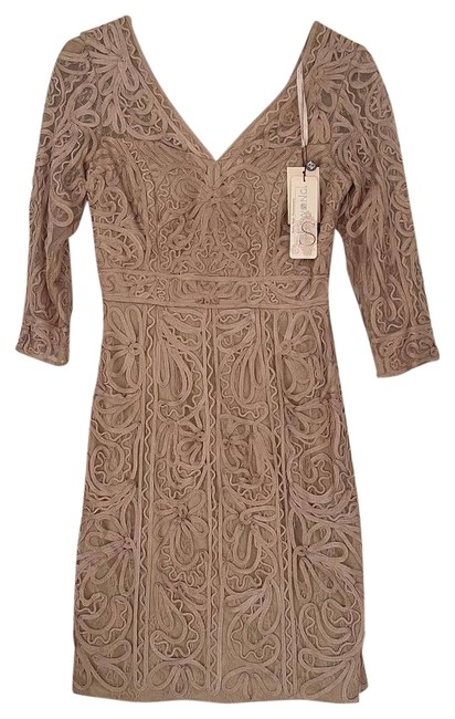 Item - Tan Women's Embroidered Mesh Cocktail Beige Short Casual Dress Size 4 (S)