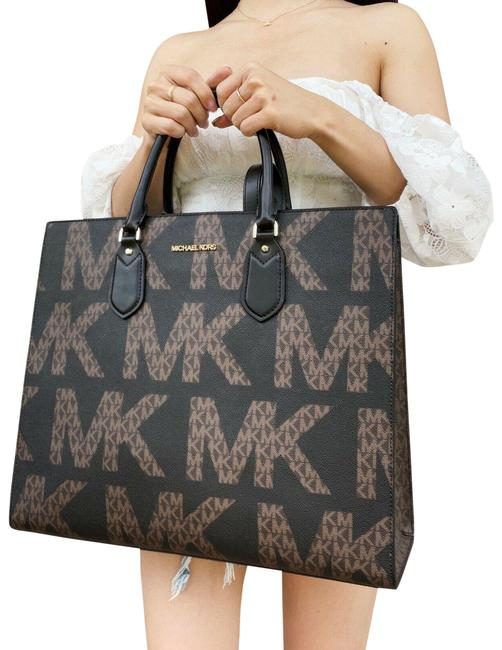 Item - Everlyn Large Satchel Convertible Brown Graphic Logo Mk Black Leather Tote