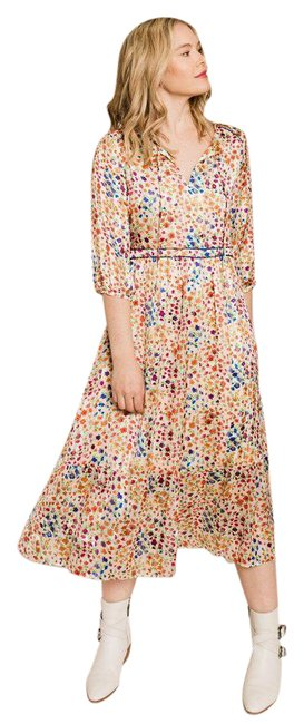 Item - White Reese Satiny Floral Midi Mid-length Casual Maxi Dress Size 6 (S)