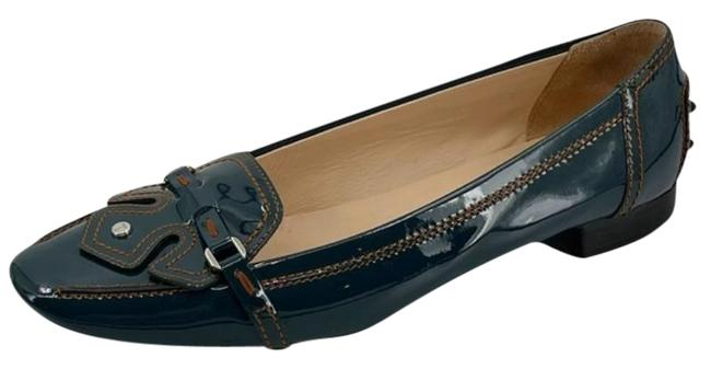 Item - Blue Patent Leather Driving Loafer Flats Size US 9 Regular (M, B)